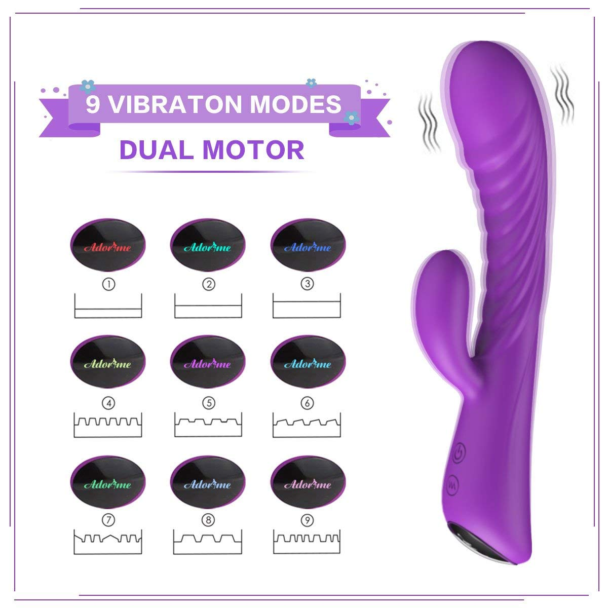 Adorime G-Spot Clitoris Dildo Vibrator Adult Sex Toys for Women